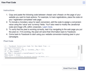 conversion code facebook