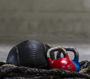 kettle bells and medball in pile